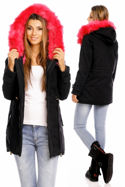 Ženska parka JS-237-BLACK-PINK3-obleke-22-jakne--bunde--vetrovke-in-softshell-i SuperFashion