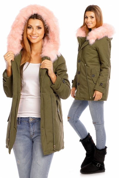 Ženska parka JS-237-KHAKI-LIGHT PINK3-obleke-22-jakne--bunde--vetrovke-in-softshell-i SuperFashion