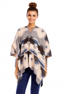 Poncho May Collection MC4056 bež-siva