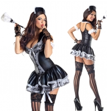 Pustni kostum sobarica Charming French Maid. črn