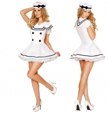 Pustni kostum mornarka White Sailor. bel